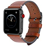 8 Farben Für Apple Watch Armband 42mm(44mmSeries 4),Fullmosa Wax Series iWatch Leder Band/Armbänder für Apple Watch Series 4,Series 3, Series 2, Series 1,42mm(44mm) Uhrenarmband, Dunkelbraun + Dunkelgrau Schnalle