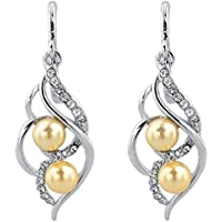SaySure - Double Simulated Pearl Earrings For (4 Double Wall Tip)