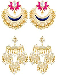 The Luxor Traditional Gold Plated Fancy Partwear Jhumkhi Combo Earrings for Women
