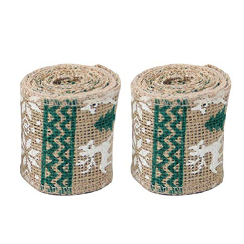XINSU Home Ribbon Rolls Printed Deer Pattern Weihnachtsgeschenkverpackung DIY Craft Christmas Sackleinen Ribbon Sackleinen Stoff Handwerk