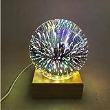 Hölzerne bunte magische Kugel-Projektions-3d Lampe des Licht-3d USB-Stromversorgung Schlafzimmer-Atmosphäre-Nachtlicht-Himmel-Tischlampe