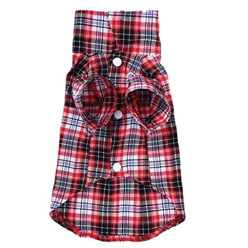 Zrong Dog Stattliche Grid Check-Kleidung Shirts Welpen-Hemd-Mantel-Kleidung für Hunde Haustier-Kleid (Check Große Kleid)