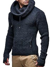 13a50133c49c LEIF NELSON Herren Strick-Pullover   Strick-Pulli mit Schalkragen    Moderner Woll-Pullover Langarm-Sweatshirt…