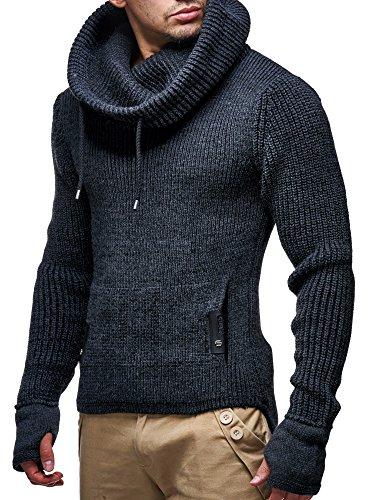 LEIF NELSON Herren Pullover Hoodie Strickpullover Longsleeve Sweater Sweatshirt Zipper LN5060; Gr_¤e M, Anthrazit