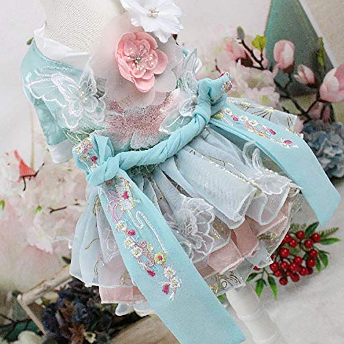WHZWH Hündchen-Prinzessin Dresses, Haustierhochzeitskleid Retro Artentwurf mit dem Haarband verwendbar für Haus, Partei, Fotografie,XL