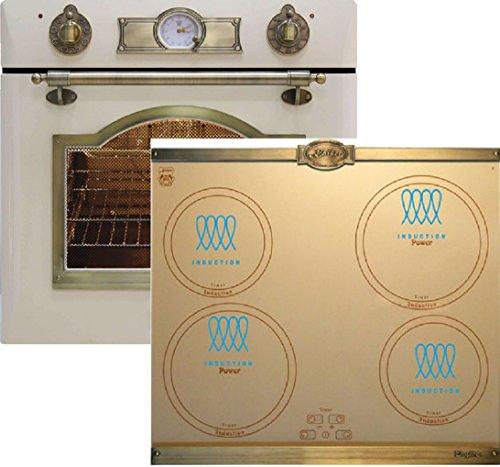 Kaiser EH 6355 ElfEm Electriques Four encastré 67L Ivore + Plaque induction 60 cm en ivoire/plaque/Luxe fabricant Kaiser/8 fonctions/autosuffisant/four rétro/four électrique/Booster/éclairage