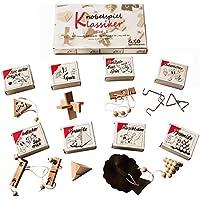 Knobelspiel Klassiker Set 1 - 8 Geschicklichkeitsspiele in Geschenkverpackung - incl. Lösung