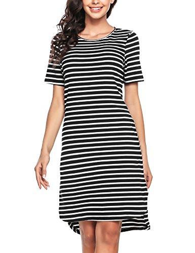 Darlings Damen Kleid Kurzarm Streifen A-Linie Schlanke Lässige mit Tasche Pullikleid -