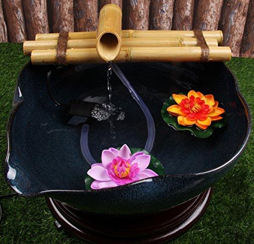 Zen Bambou Fontaine à eau avec pompe Medium 30,5cm trois bras de style, intérieur ou extérieur extérieur Décor de jardin Fontaine, Naturel, Split résistant en bambou, à combiner avec n
