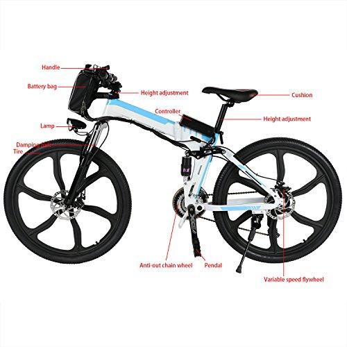 zeela 26 Zoll E-Bike E-Mountainbike Elektrofahrrad Klappräder Faltbare pedelec Reichweite 55KM bis zu 30km/h mit Kapazität Lithium-Akku und LED-Anzeige