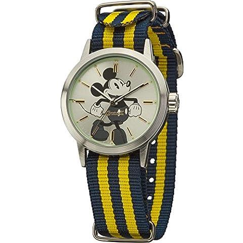 Disney Ingersoll Reloj de mujer de cuarzo con Esfera Plateada Pantalla Analógica y Multicolor Correa De Nailon