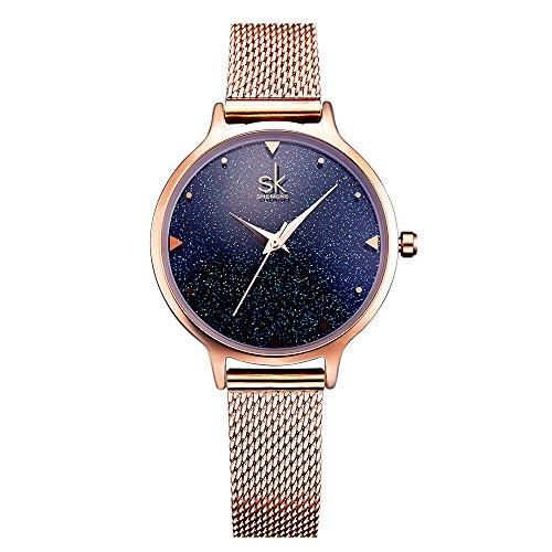Leder-stahl-liege (shengke k0063l Rose Gold Uhren Starry Sky Damen-Uhren mit Edelstahl Stahl Mesh Riemen)