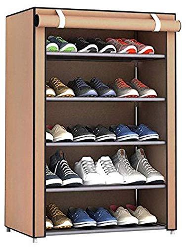 DJSMxj Schuhschrank, Schlaffamilie Einzel Schicht Speicher Tuch Schuhraum Home Einfache Mehrschichtige Aufbewahrungsbank (Color : Brown) -