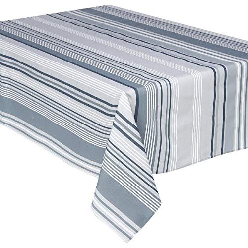 Nappe rectangulaire 145 x 240 cm - Coton enduit - Rayures grises