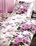 2 tlg. Bettwäsche Microfaser Garnitur Set Modern Bezug Kissen Farbe wählbar, Maße:135 cm x 200 cm;Muster:Schmetterlinge Lieben Blumen