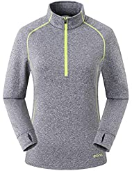 Eono Essentials Women's Lightweight High-Stretch Grid Fleece Top