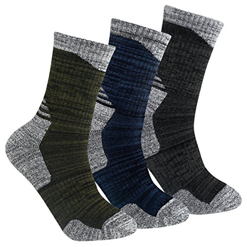 YUEDGE 3 Paar Herren Wandern Sport Socken für Trekking Camping Radfahren Tennis, Atmungsaktiv, Anti-Slip, High Performance (L, Dunkelgrau/Dunkelblau/Olivgrün)