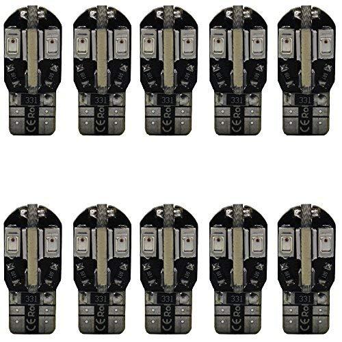 AMAZENAR Paquet de 10 T10 194 168 2825 W5W Canbus sans Erreur 5730 8 SMD LED Ampoules 12V, avec Remplacement pour Feux Stop (Rouge)