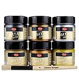 Maya Gold 6er Set (Glamour) inkl. LM Pinsel --- Viva Decor Metallic Effektfarbe, Metallglanz, Effekt Farbe Metall, Bastelfarbe, Dekofarbe