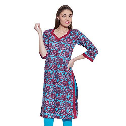 Kokom Women Cotton Indian Kurti Tunika-Oberlang Ethnische Bluse Kurta Geschenk für sie (Shirt Tunika Kurti)