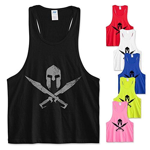 Be impress canotta canottiera vogatore palestra fitness allenamento uomo donna unisex grafica logo gladiatore - guerriero - warrior (xl, giallo fluo)