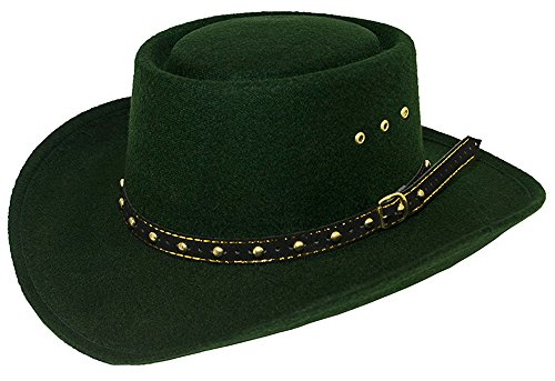 74ecae1fbab Sunrise Outlet Hunter Green Faux Felt Gambler Hat - Elastic Fit - Small  Medium