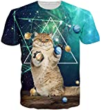 Loveternal Galaxy Cat 3D Digital Impreso T-Shirt Casual Gráfico Manga Corta Tops Camisetas S