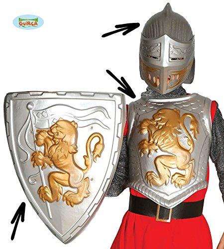 Guirca Antikes Kinder Ritterset mit Brustpanzer Schild und Helm für Römer Karneval Fasching Party Rom