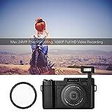 Anself Andoer R1 1080P 15fps Full HD 24MP Digital Camera Cam Camcorder 3.0 Inch Rotatable LCD Screen Anti-Shake 4X Digital Zoom Retractable Flashlight w/UV Filter 2pcs Li-ion Batteries