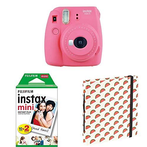 Fujifilm Instax Mini 9 Flamingo Rosa + Doppelpackung 2x 10 Mini Instant Film + Mini Fotoalbum