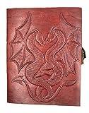Chic & Zen–Cuaderno, bloc Note, diario, libro, piel auténtica, Vintage, cierre metal, Double Dragon, 13cm x 17cm)