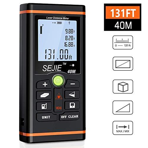 BEBONCOOL Entfernungsmesser, Laser-Entfernungsmesser Lasermessgerät Distanzmessgerät, Messbereich 0,05~40m/±1.5mm mit LCD Hintergrundbeleuchtung, Rangfinder Distanzmesser für den Heimwerker und Profi Super Helle Lcd-display