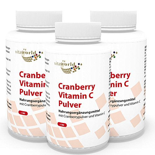 Vita World Pack de 3 Canneberge (Cranberry) 400mg + Vitamine C 3 x 180 Capsules Made in Germany