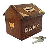 #5: Craft Expertise Wooden Money Bank Hut Style Kids Piggy Coin Box Gifts Handmade 4 Inch, with Lock