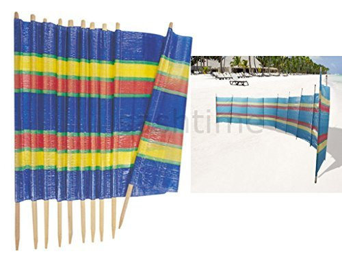 Fineway @ 10Pole Windschutz Wind Break Windbreaker Bildschirm Sun Strandmuschel Camping 20ft