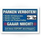 Parken Verboten - Kunststoff Schild Lustig (30 x 20cm), Parkverbotsschild Privatparkplatz - Verbotsschild, Hinweisschild Parkplatz freihalten - Parkverbot Schild, Warnhinweis