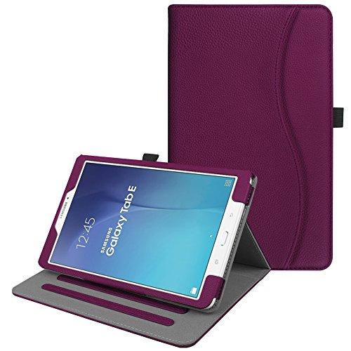 Fintie Hülle für Samsung Galaxy Tab E 9.6 T560N / T561N (9,6 Zoll) Tablet-PC - Multi-Winkel Betrachtung Kunstleder Schutzhülle Etui mit Dokumentschlitze & Auto Schlaf/Wach Funktion, Lila