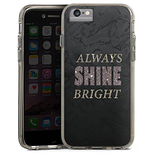 Apple iPhone 8 Bumper Hülle Bumper Case Glitzer Hülle Shine Brille Glitter Bumper Case transparent grau