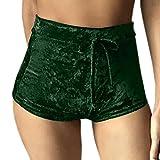 GGTFA Frauen Winter Velvet Fitness Sport Shorts Hohe Taille Kordelzug in der Gym Workout Yoga Hot Pants Grün M
