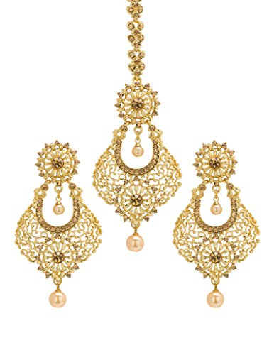 Bindhani Wedding Bridal Golden Stone Pearl Drop Mang (Maang) Tikka (Tika) With Earrings For Women & Teenage Girls