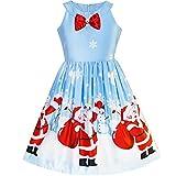 Sunboree Mädchen Kleid Blau Weihnachten Weihnachtsmann Schnee Weihnachten Baum Party Gr. 146