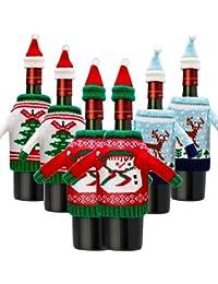 6 Juegos de Funda de Botella de Vino de Navidad Cubierta de Botella de Vino de Papá Noel Reno Muñeco de Nieve para…