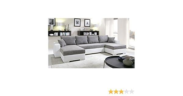 009098615e2a2 tendencio Canapé d angle Convertible panoramique 5 à 6 Places Enno Gris et  Blanc  Amazon.fr  Cuisine   Maison