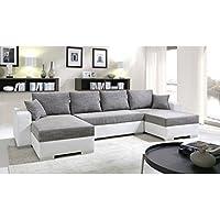 Canapé d'angle convertible panoramique 5 à 6 places ENNO gris et blanc