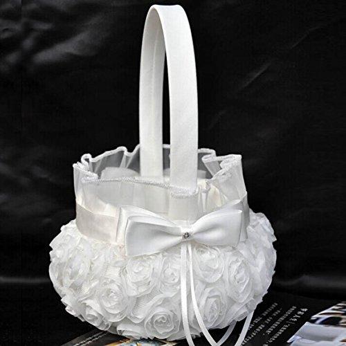 Ueb cestino porta petali matrimonio cesto in raso con fiocco e fiori rosa cestino cerimonia bianco decorazioni per matrimonio feste