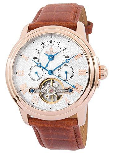 Burgmeister Armbanduhr für Herren mit Analog Anzeige, Automatik-Uhr und Lederarmband - Wasserdichte Herrenuhr mit zeitlosem, schickem Design - klassische Uhr für Männer - BM128-385 Trafalgar