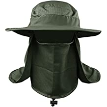 VANKER Senderismo Pesca Sombrero Deportes al aire libre Sol Protección UV Cara para Mujeres Hombres -- Verde del ejército