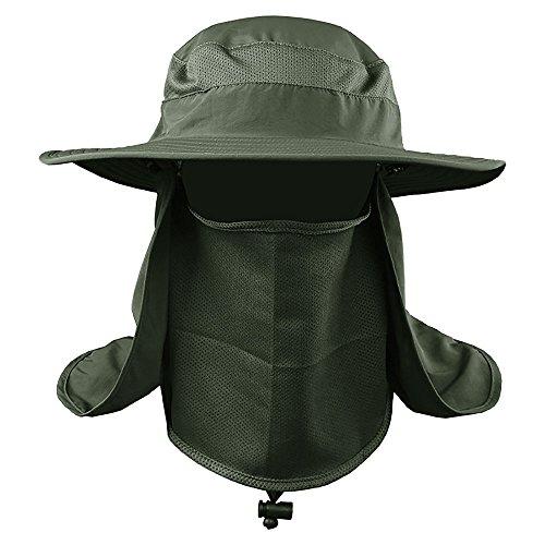 Foto de VANKER Senderismo Pesca Sombrero Deportes al aire libre Sol Protección UV Cara para Mujeres Hombres -- Verde del ejército