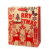 NEW Christmas Gift Bags - Beautiful Xmas Gift Bags UK (Contemporary Felt Merry Christmas, Large 330 x 265 x 145mm)