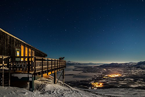 Panoramic Images - Person Viewing The Stars at The Abisko Sky Station Abisko Lapland Sweden. Cold temperatures as Low as -47 Celsius. Photo Print (91,44 x 30,48 cm) Viewing Station